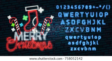 Christmas text neon sign. Neon sign, bright signboard, light banner. Vector icons