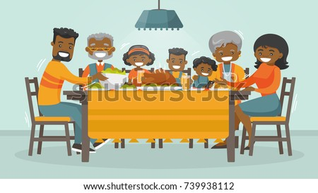 Christmas & Thanksgiving inspired Holiday card with african family enjoying Thanksgiving day turkey at the table. Vector flat design family Holiday weekend illustration for poster, card, banner.