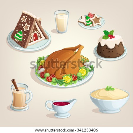 Christmas thanksgiving new Year dinner food dinner dishes illustration color vector White background icons menu - stock vector