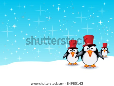 Christmas theme background with baby animals - stock vector