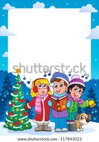 Christmas theme frame 9 - vector illustration. - stock vector