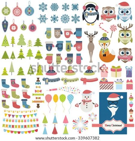 Christmas theme set - stock vector