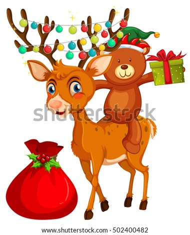 Christmas theme with bear and reindeer illustration