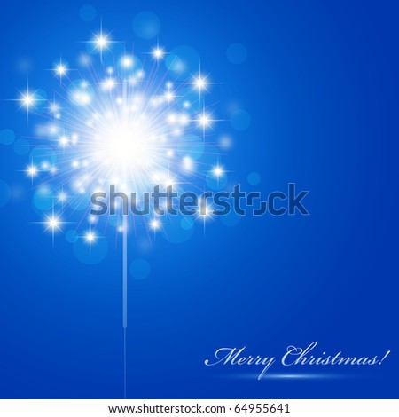 Christmas theme with sparkler and copyspace - stock vector