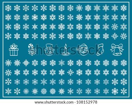Christmas Themes; snowflakes and christmas icon; new year; winter Vector Set; shape