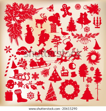 christmas time shapes, set of vector designs - stock vector