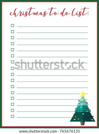 christmas to do list vector illustrationplanner organiser notebook