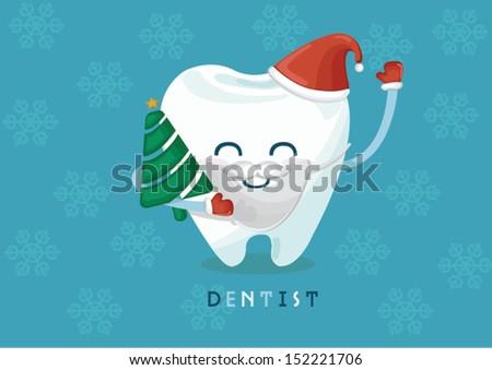 Christmas tooth - stock vector