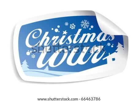 Christmas tour vector sticker. - stock vector