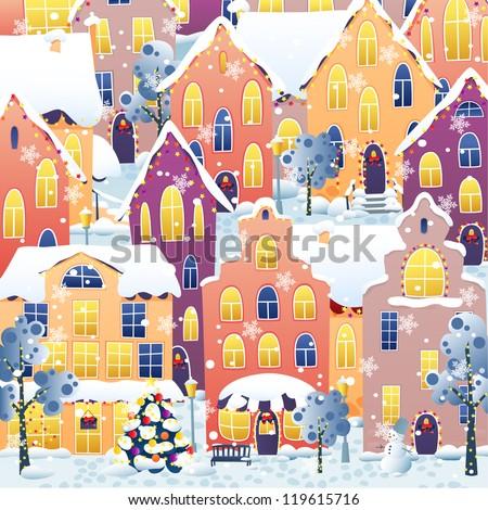 Christmas town - stock vector