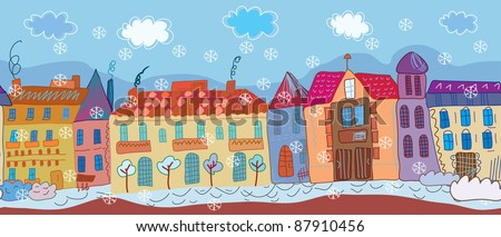 Christmas town seamless banner cartoon - stock vector