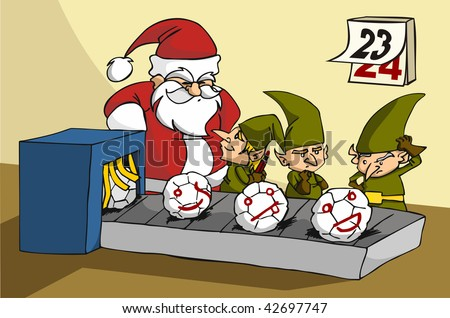 Christmas toy factory: three elves been surprised while joking at job by Santa - stock vector
