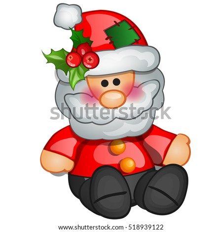 Christmas toy in the form of Santa Claus. Sample of the poster, invitation and other cards. Vector illustration.