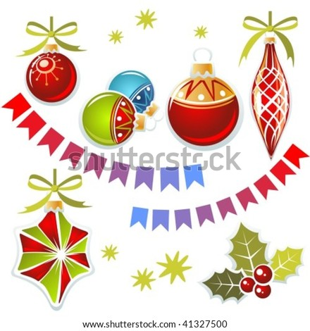 Christmas toys and holly berry isolated on a white background.