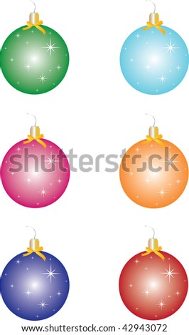 Christmas toys - balls of snow flakes shining in different colors