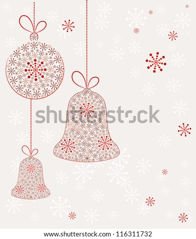 Christmas toys made with snow. Vector Background - stock vector