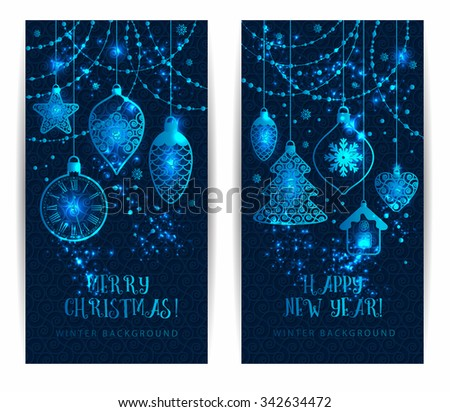 Christmas toys on dark blue background. Holiday banners set. - stock vector