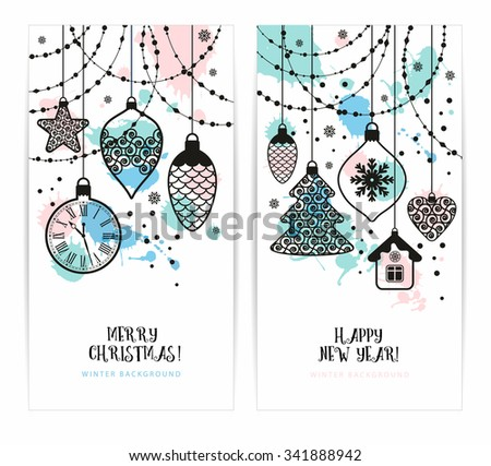 Christmas toys on  white background. Holiday banners set.