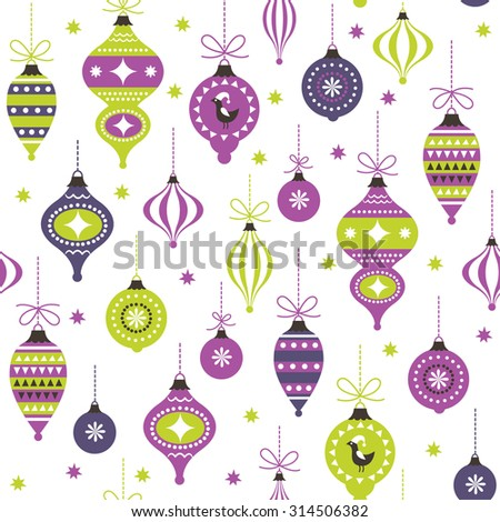 Christmas toys, seamless pattern - stock vector