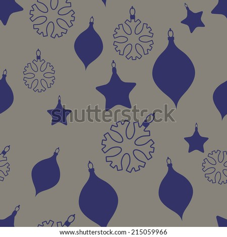 Christmas  toys seamless vector background. - stock vector