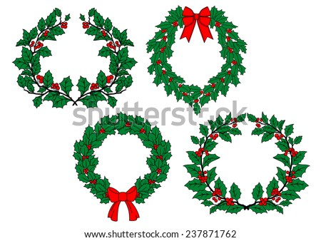 Christmas traditional holly wreaths set with red berries, ribbon bows isolated on white background for holiday decoration design - stock vector