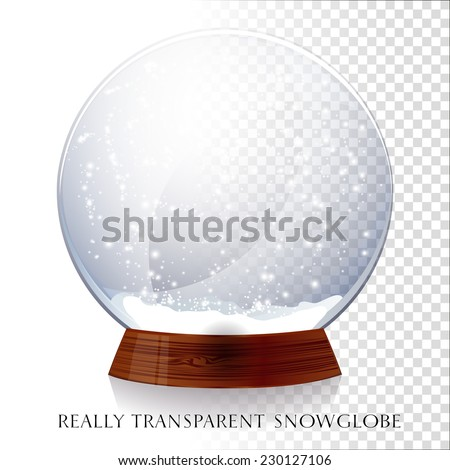 Christmas transparent snowglobe - stock vector