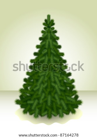 Real Christmas Spruce Tree Sketch Greeting Stock Vector