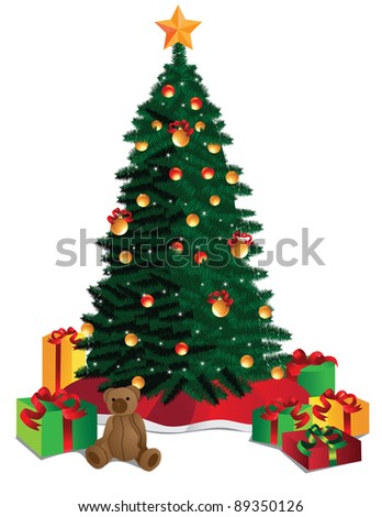 Christmas Tree A beautiful Christmas tree surrounded by gifts. EPS 8 vector, grouped for easy editing. - stock vector