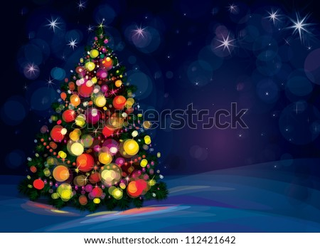 Christmas tree and decorations on winter background. - stock vector