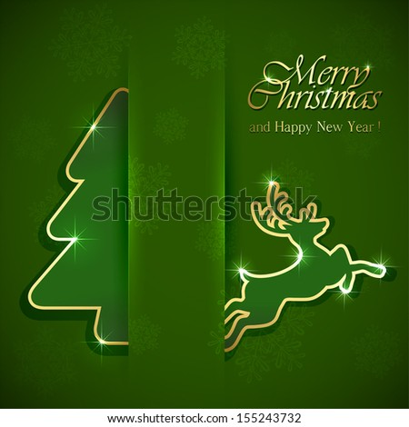 Christmas tree and deer on green background, illustration. - stock vector