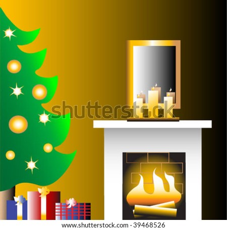 Christmas tree and fireplace with candles on the mantle. Gifts under the tree.