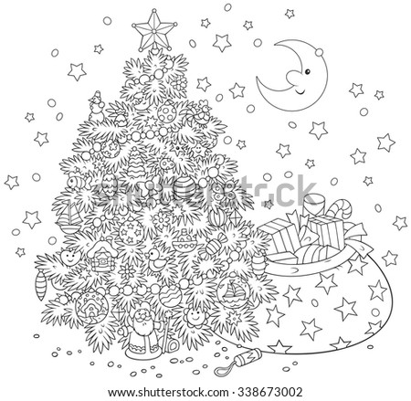 Christmas tree and gifts - stock vector