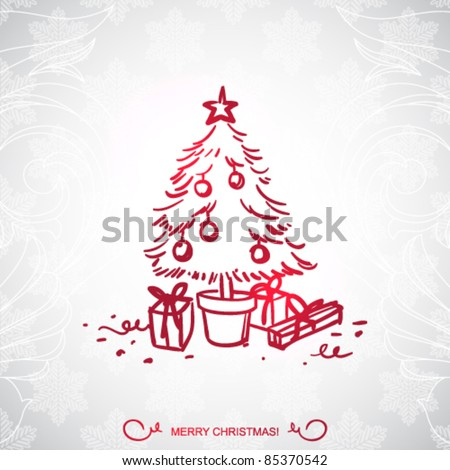 Christmas tree and gifts, cartoon drawing - stock vector