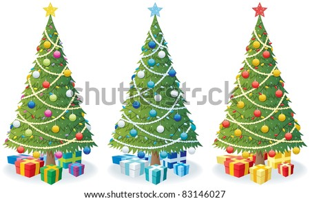Christmas Tree and Gifts: Cartoon illustration of Christmas tree in 3 color versions.  No transparency used. Basic (linear) gradients. - stock vector