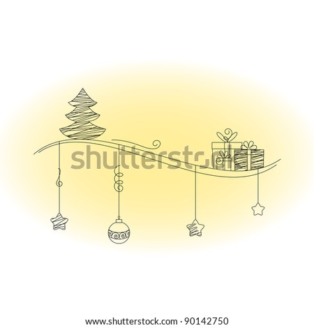 Christmas tree and gifts scrawl - stock vector