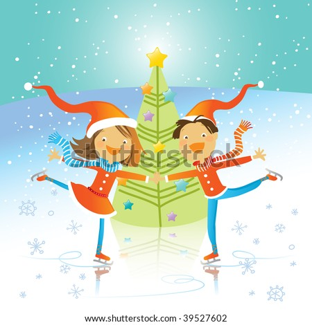 christmas tree and happy kids dancing on skates, vector illustration - stock vector