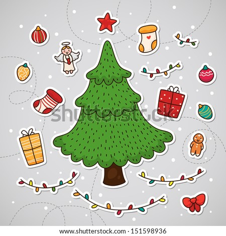 Christmas tree and other Christmas decorations - stock vector