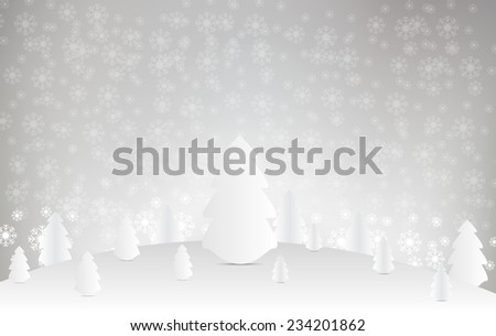 Christmas tree and snow  on white background. Vector Design.