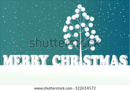Christmas tree and snowflakes - stock vector