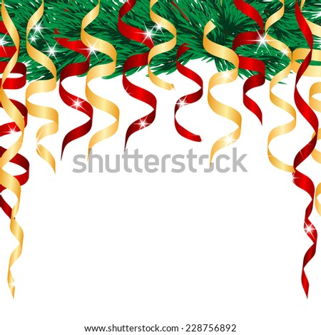 Christmas Tree and streamers - stock vector