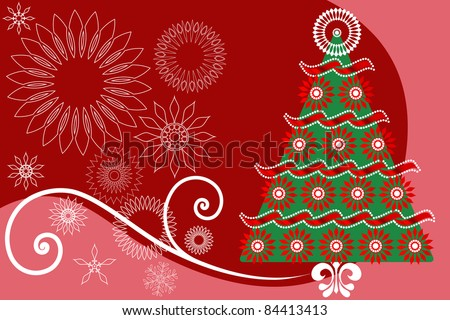 Christmas tree  asymmetrical  design - stock vector