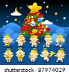 Christmas tree & baby angels - stock vector