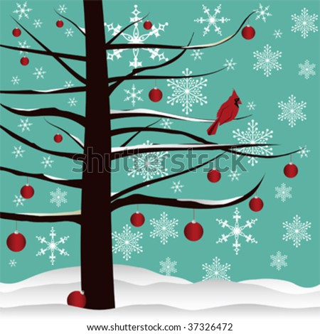 Christmas tree background designed with red Cardinal, red ornaments, snow  and snowflakes. - stock vector