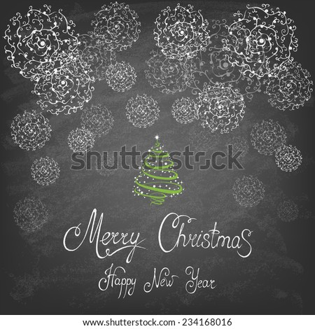 Christmas Tree Background, Trendy Design Template on blackboard. Vector illustration.