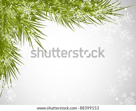 Christmas tree background, vector snowflake illustration - stock vector
