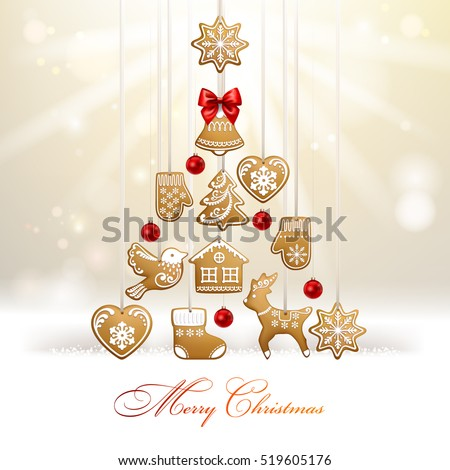 Christmas tree. Background with homemade gingerbread cookies. Vector  EPS 10.