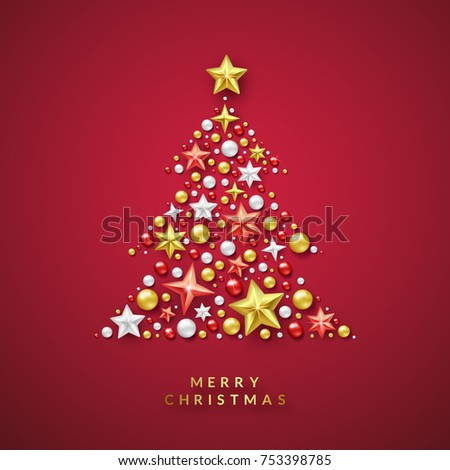 Christmas Tree Background With Shining Stars And Colorful Balls. Merry  Christmas Card Vector Illustration On