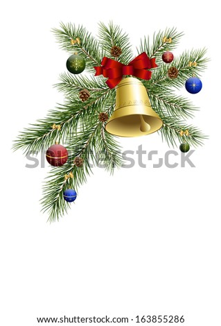 Christmas tree balls, bell and fir twigs - stock vector