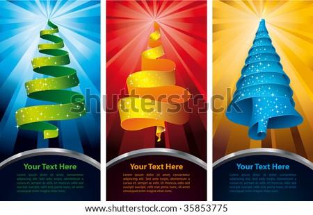 Christmas tree - banners - stock vector