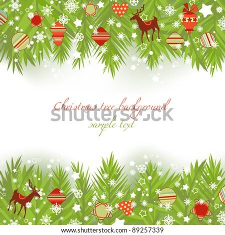 Christmas tree borders vector illustration - stock vector